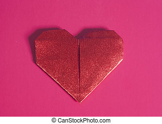 Red paper origami Valentines Day heart