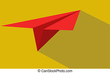 Red paper plane with shadow