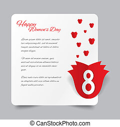 Red paper rose 8 March Women's Day card. Greeting card. Cut...