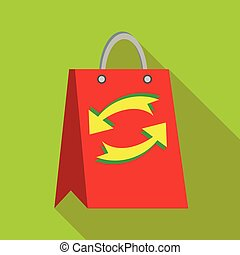 Red paper shopping bag with refresh arrows icon