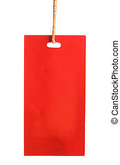 Red paper tag isolated