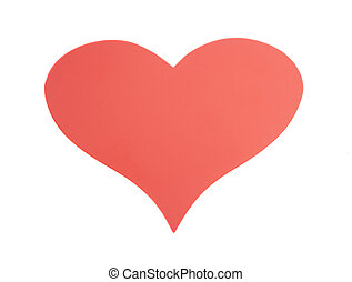 Red paper Valentines Day heart isolated on white background
