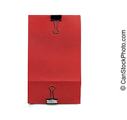 red paper with clip
