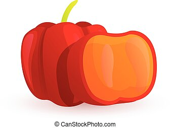 Red paprika icon, cartoon style