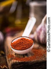 Red paprika powder on spoon