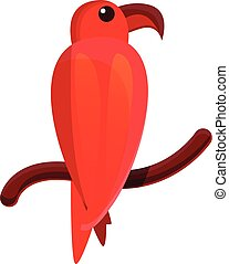 Red parrot icon, cartoon style