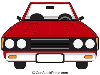 Red passenger car - Illustration of a red passenger car on a...