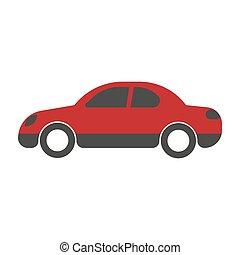 Red passenger car sedan close-up flat art design on white