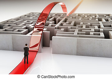 Red path and businessman