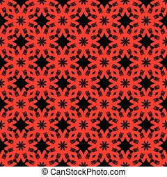 Red pattern on black background. Seamless pattern. Abstract.