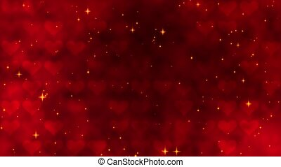 Red pattern with golden confetti, stars and red hearts. For St. Valentines Day, Wedding invitation e-card. 3D rendering video loop 4k