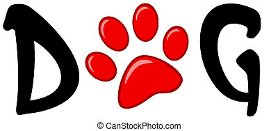 Red Paw Print In The Word Dog - Dog Text With Red Paw Print