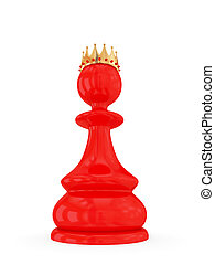 Red pawn with a golden crown.