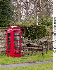 red payphone booth - A red payphone booth in Cotswold,...