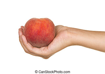 Red peach - Female hand with a red peach and white...