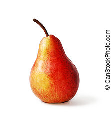 red pear on a white background