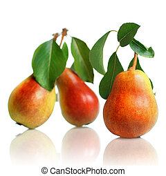 red pears with leaves isolated on white