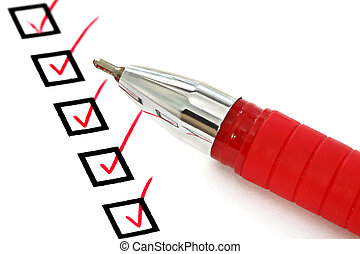 Red Pen and Checklist - Red ballpoint pen with ticks in...
