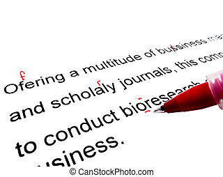 Red pen correcting proofread english text