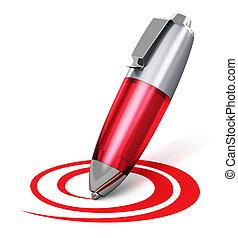 Red pen drawing circular shape