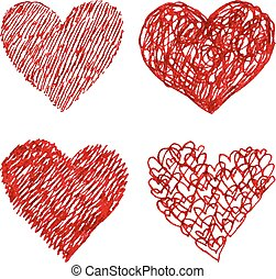 Red pen hand drawn hearts set