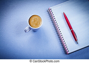 Red pen message pad coffee cup with cappuccino office concept