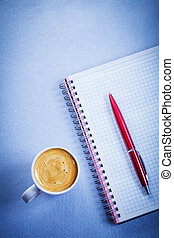 Red pen message pad white coffee cup office concept