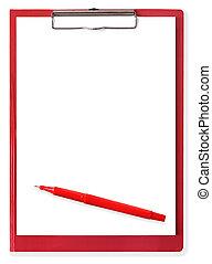Red Pen on Clipboard