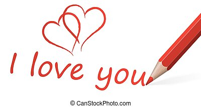 red pen with text I love you