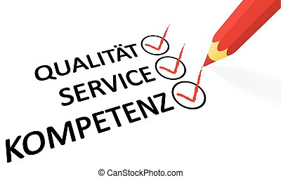 red pencil and text Quality service competence - red pencil...