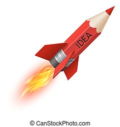 Red pencil as flying rocket