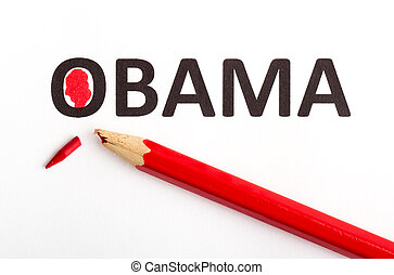 Red pencil (broken point) for voting the next president
