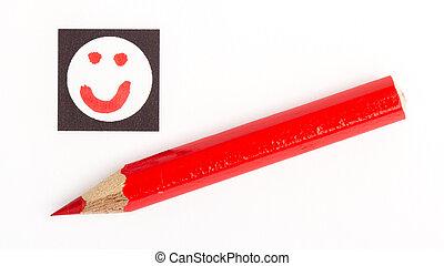 Red pencil choosing the right mood, like or unlike/dislike, ...