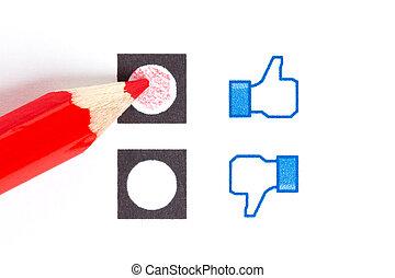 Red pencil choosing the right mood, like or unlike/dislike