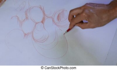 freehand sketch on white paper, red pastel abstract shapes
