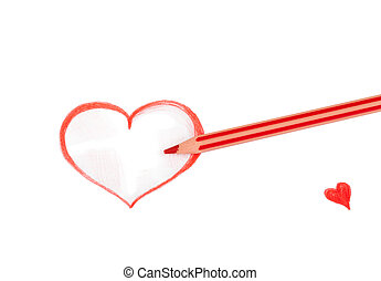 Red pencil drawing of heart isolated on white background