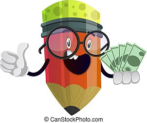 Red pencil has some money in his hands illustration vector on white background