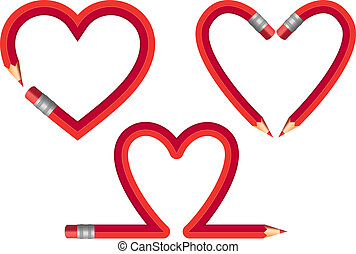 red pencil hearts, vector set