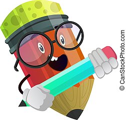 Red pencil holding another pencil in his hands illustration vector on white background