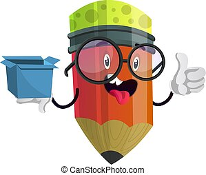 Red pencil holding blue box and sticking his tongue out illustration vector on white background