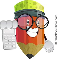 Red pencil holding calculator in his right hand illustration vector on white background