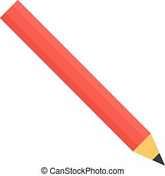 Red pencil icon, flat style