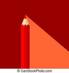 Red pencil icon in flat style with long shadow. Also suitable for background, banner or template.