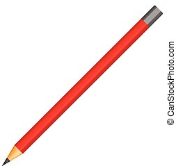 Red pencil icon, realistic style
