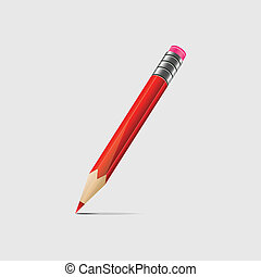 Red pencil - Illustration of a red pencil isolated on light...