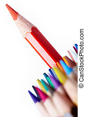 Red pencil - Image of red crayon surrounded by several rows...