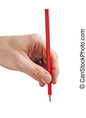 red pencil in hand