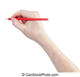 red pencil in hand isolated on white