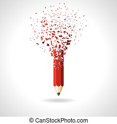 red pencil on a white background.