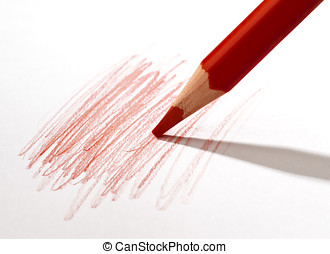 red pencil - Red pencil scribbling a white sheet